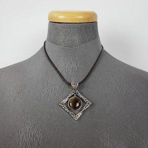 Lia Sophia Silver & Brown Pendant Cord Necklace